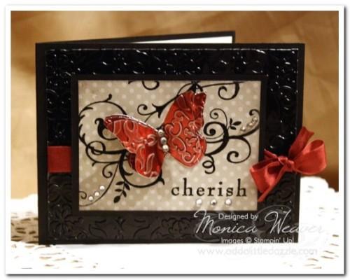 Baroque Motif Embossed Metal Butterfly Card