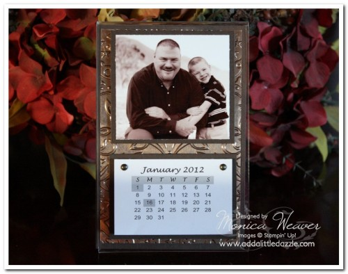 2012 METAL EMBOSSED DESKTOP PHOTO CALENDAR